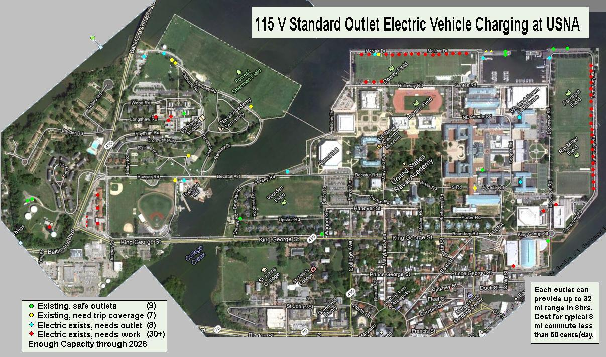 us naval academy campus map Ev Charging Potential At Usna us naval academy campus map